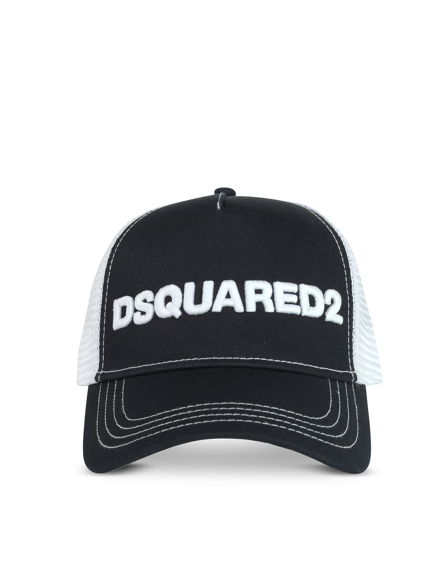 DSquared2 Designer Men's Hats, Men's Navy and White Cotton & Mesh Baseball Cap
