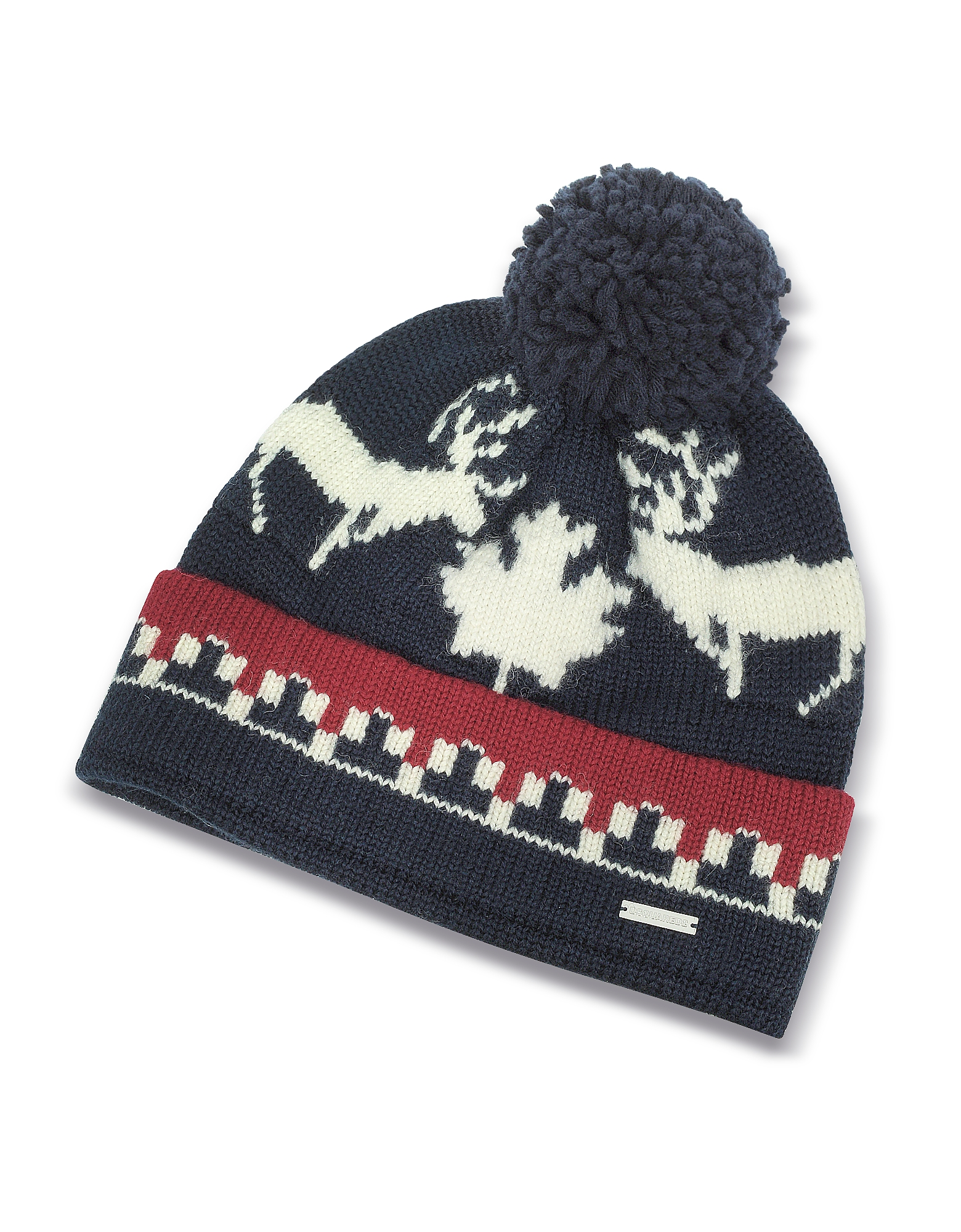 Nordic Deers Navy Blue and Burgundy Wool Blend Knit Hat w/Pom Pom от Forzieri.com INT