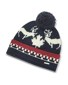 Nordic Deers Navy Blue and Burgundy Wool Blend Knit Hat w/Pom Pom - DSquared2