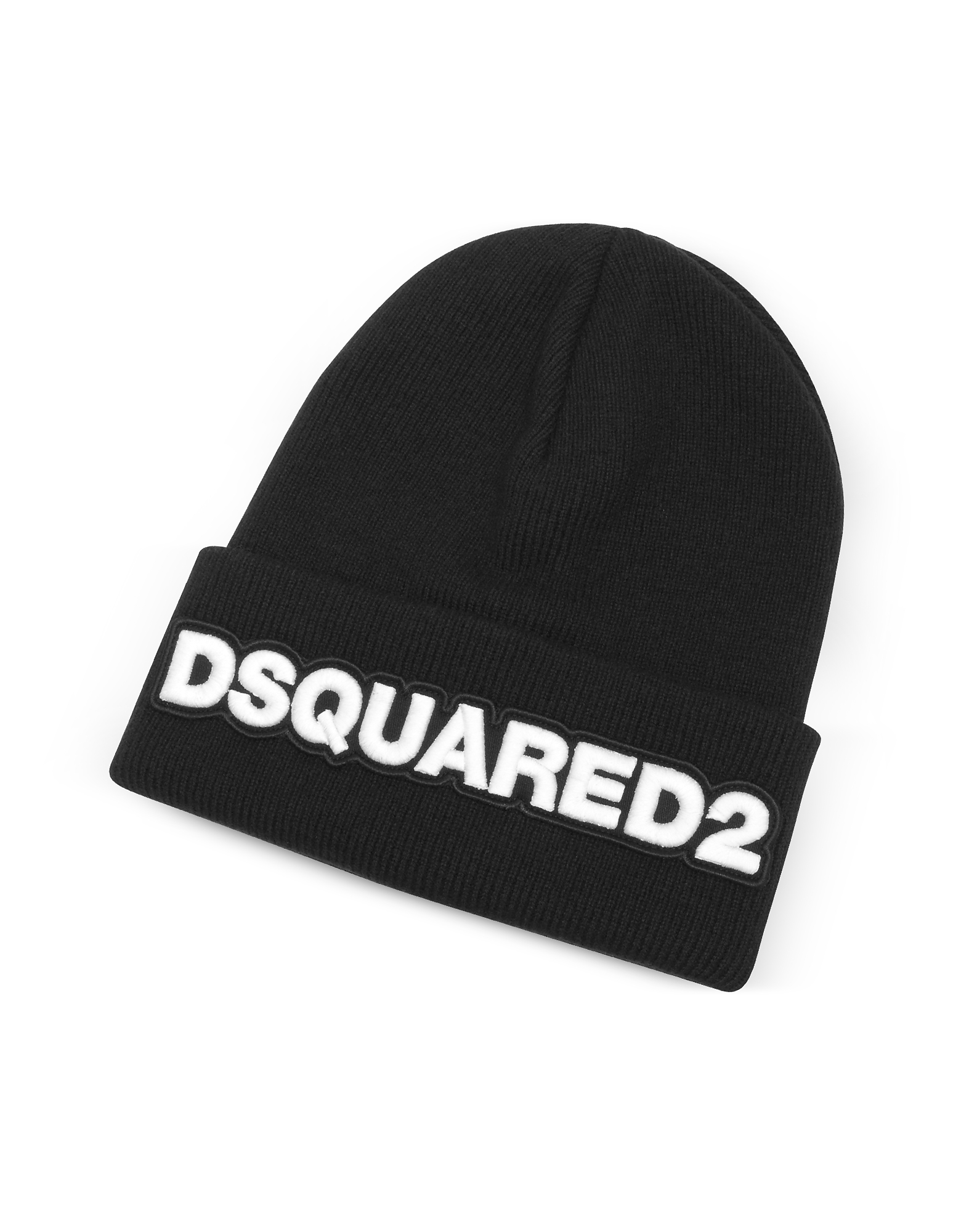 Embroidered Logo Black Wool Beanie