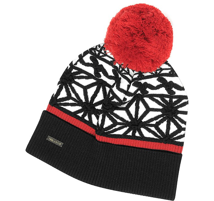 Black & White Knit Hat w/Red Pom Pom - DSquared2
