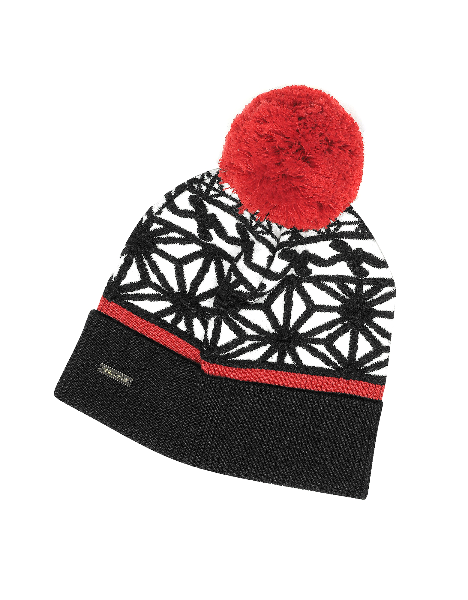 Black & White Knit Hat w/Red Pom Pom от Forzieri.com INT