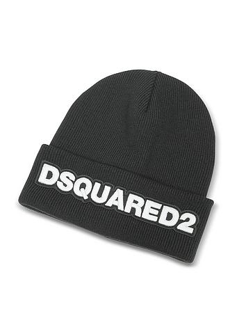 DSquared2 Designer Men's Hats, Signature Patch Black Wool Knit Hat dq310417-014-00