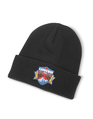 Canadian Patch Black Wool Knit Hat dq310417-015-00