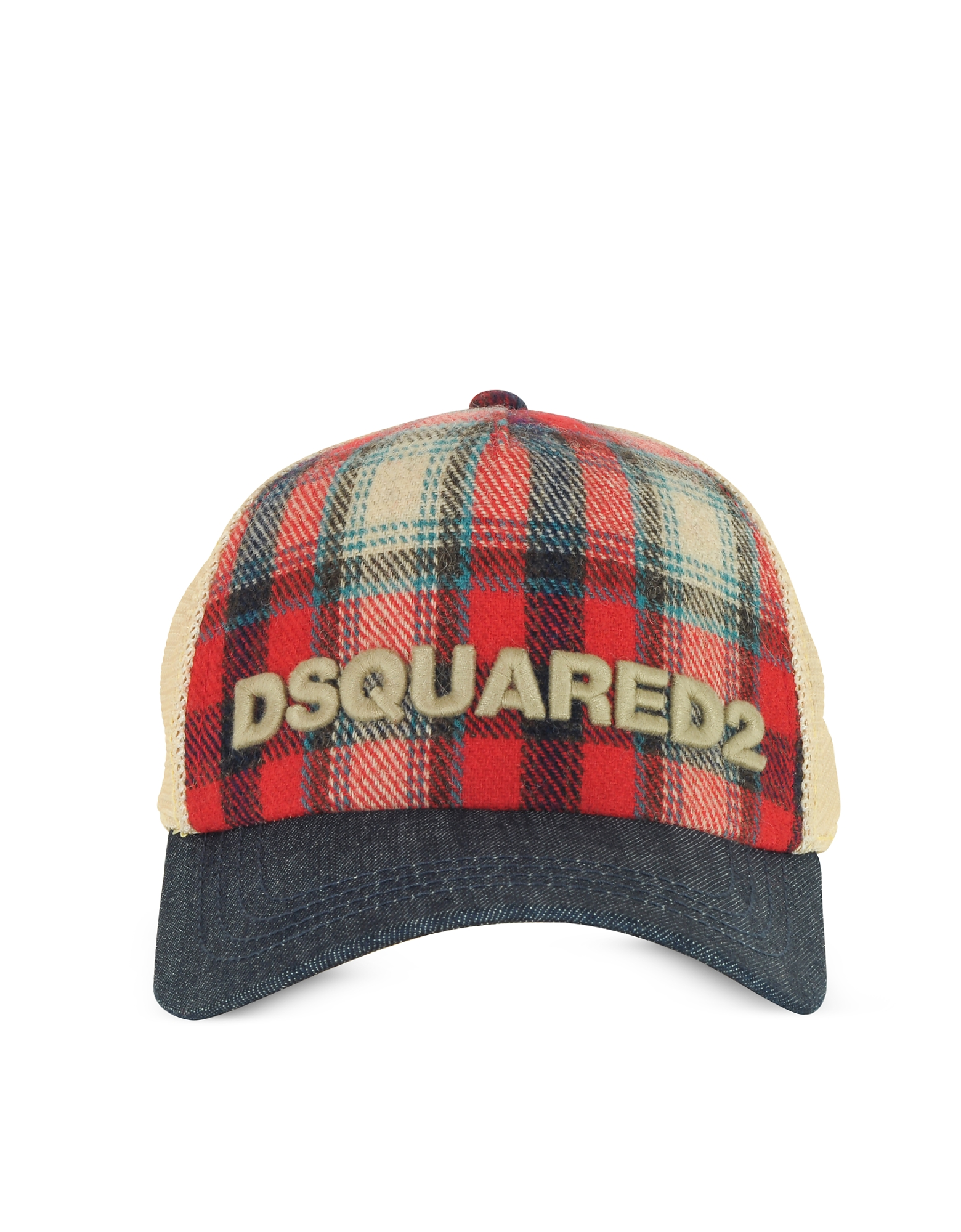 DSquared2 Men's Hats, Red Checked Wool Blend and Denim Baseball Cap