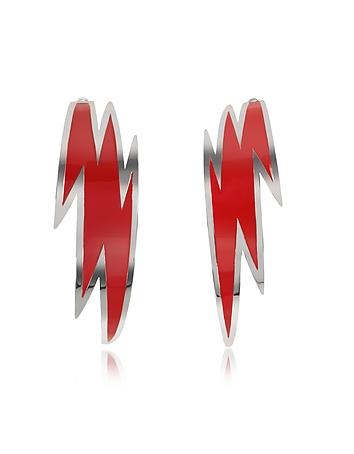 Brass and Red Enamel Thunder Earrings