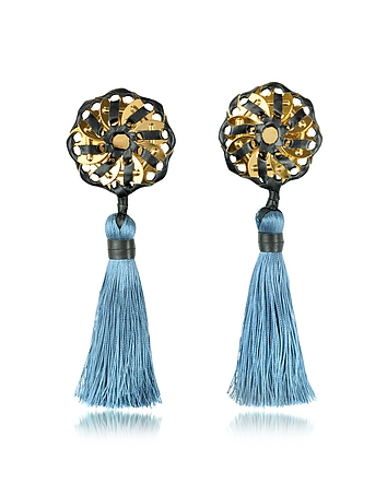 Samurai Blue Tassel Clip Earrings