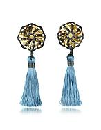 DSquared2 Orecchini a Clip Samurai in Pelle con Nappine Azzurro Pastello - dsquared2 - it.forzieri.com