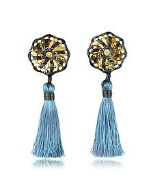 Samurai Blue Tassel Clip Earrings - DSquared2