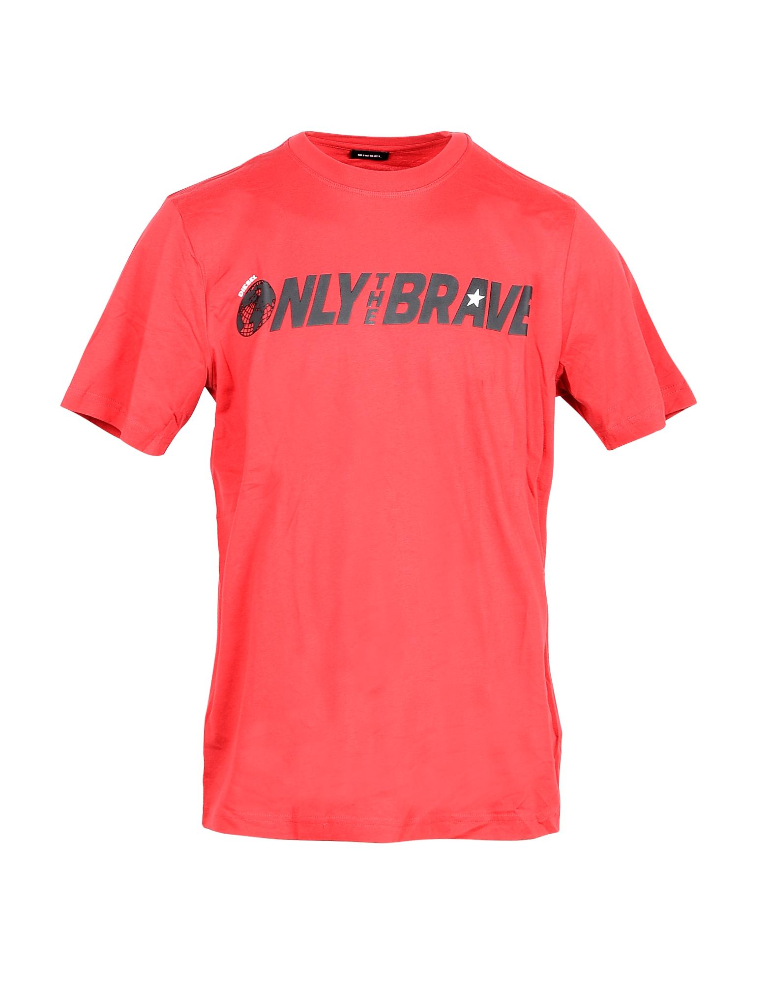 Diesel Designer T-Shirts, Only The Brave Print Red Cotton Men's T-shirt