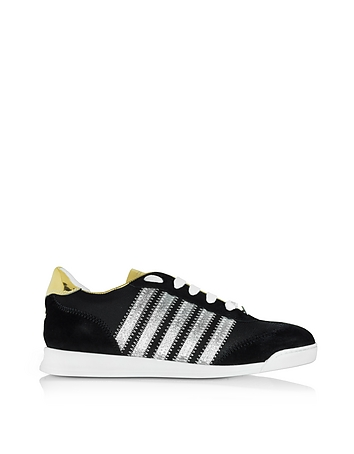 DSquared2 - New Runner Black Fabric and Gold Leather Sneaker