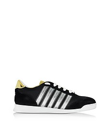 New Runner Black Fabric and Gold Leather Sneaker - DSquared