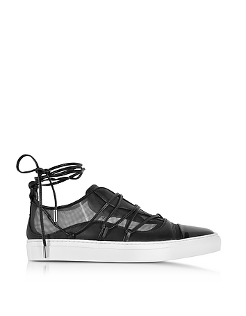 DSquared2 - Black Mesh and Leather Slip on Riri Sneakers