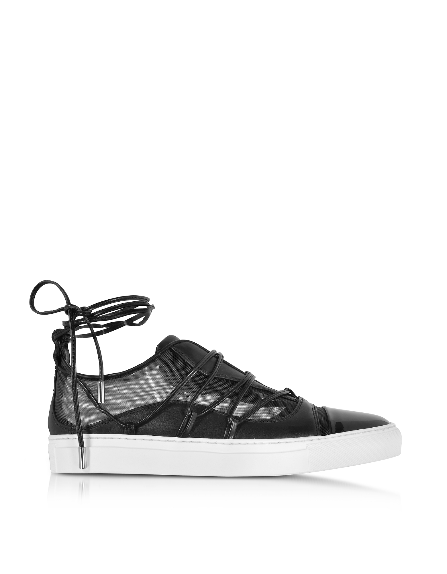 DSquared2 Shoes, Black Mesh and Leather Slip on Riri Sneakers