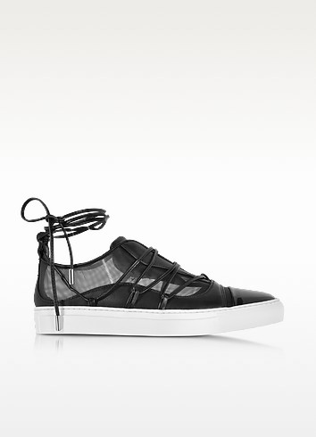 Black Mesh and Leather Slip on Riri Sneakers - DSquared2