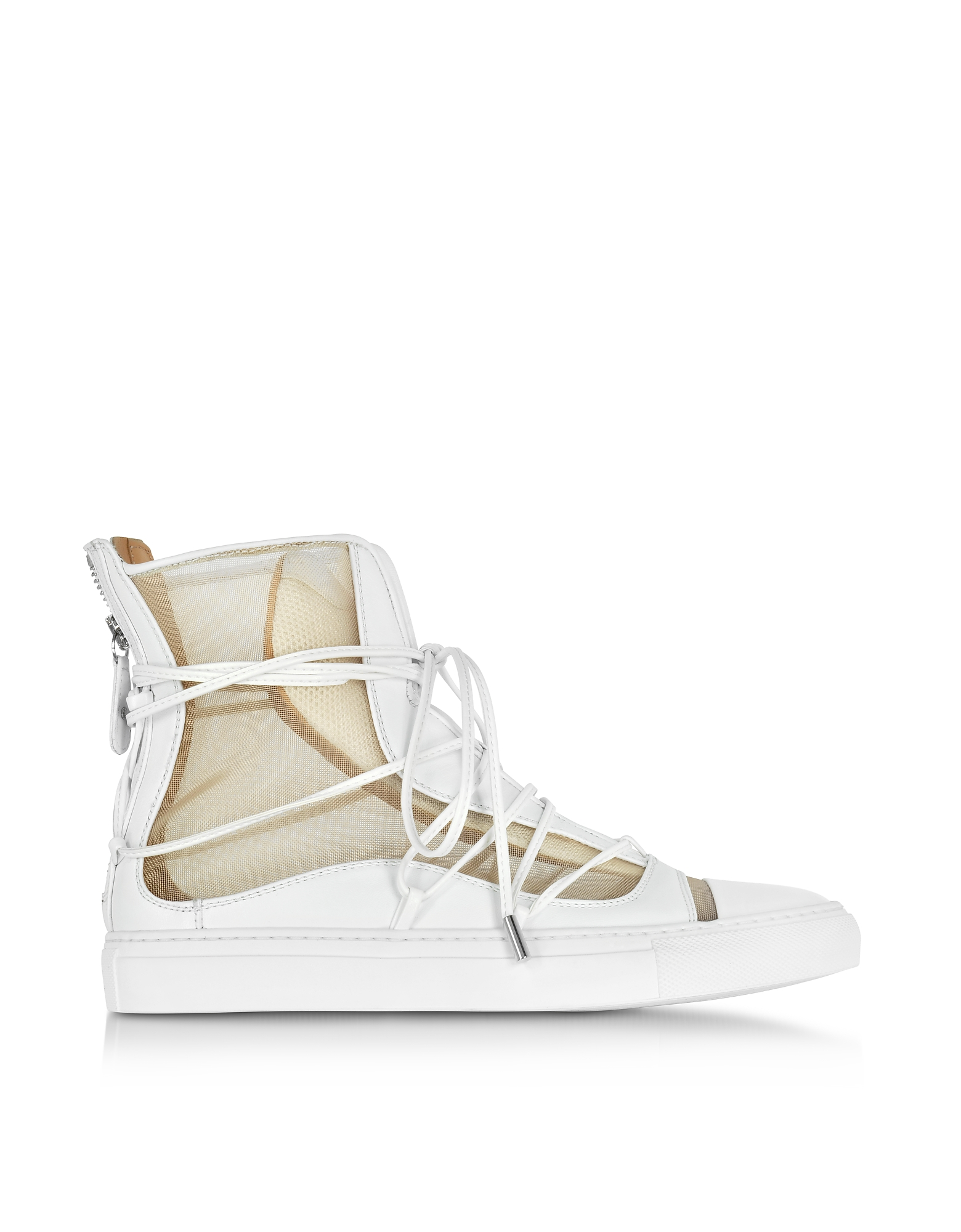 DSquared2 Shoes, Nude Mesh and White Leather High Top Riri Sneakers