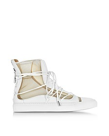 Nude Mesh and White Leather High Top Riri Sneakers - DSquared
