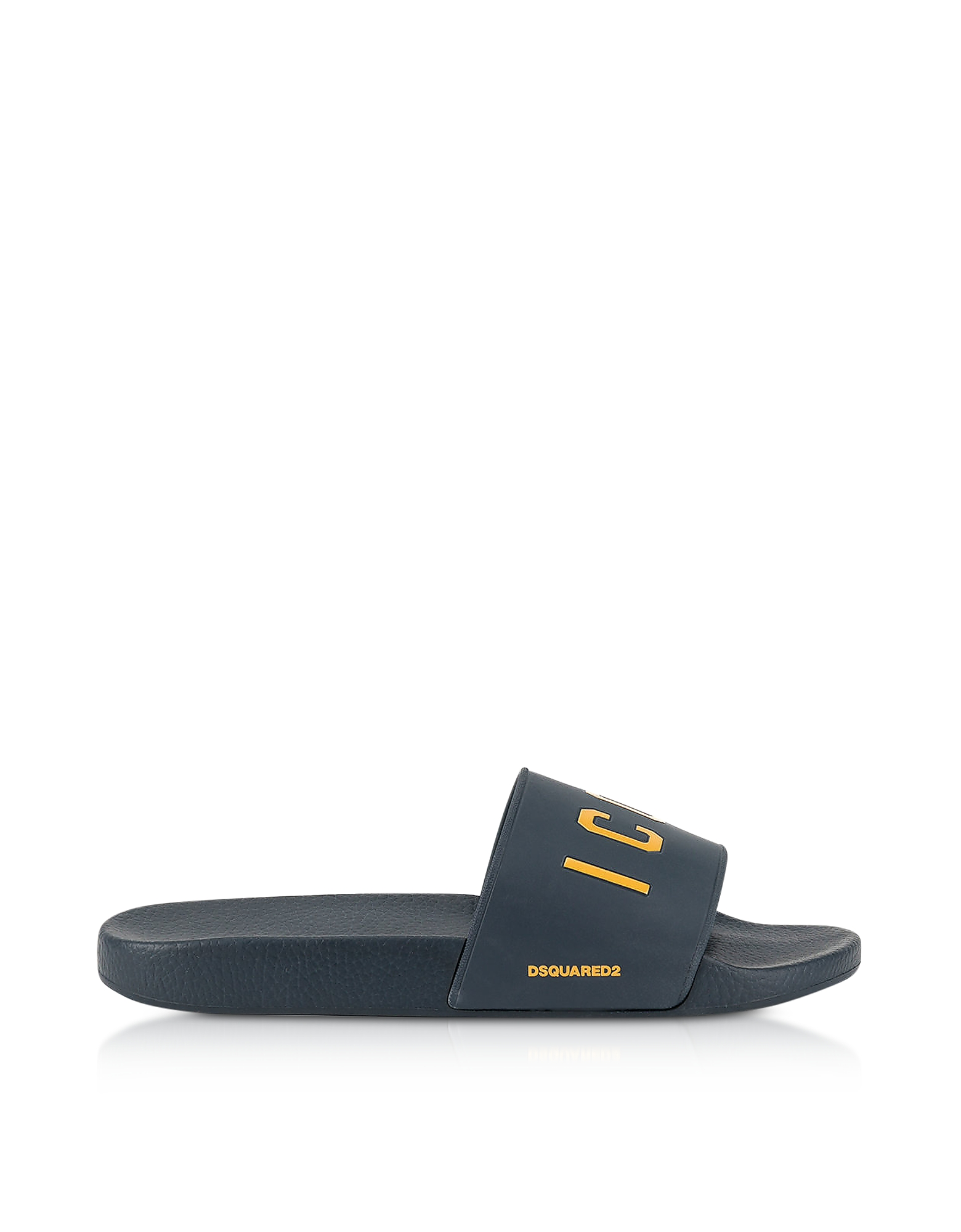 DSquared2 Shoes, Icon Navy Blue Rubber Slide Sandals