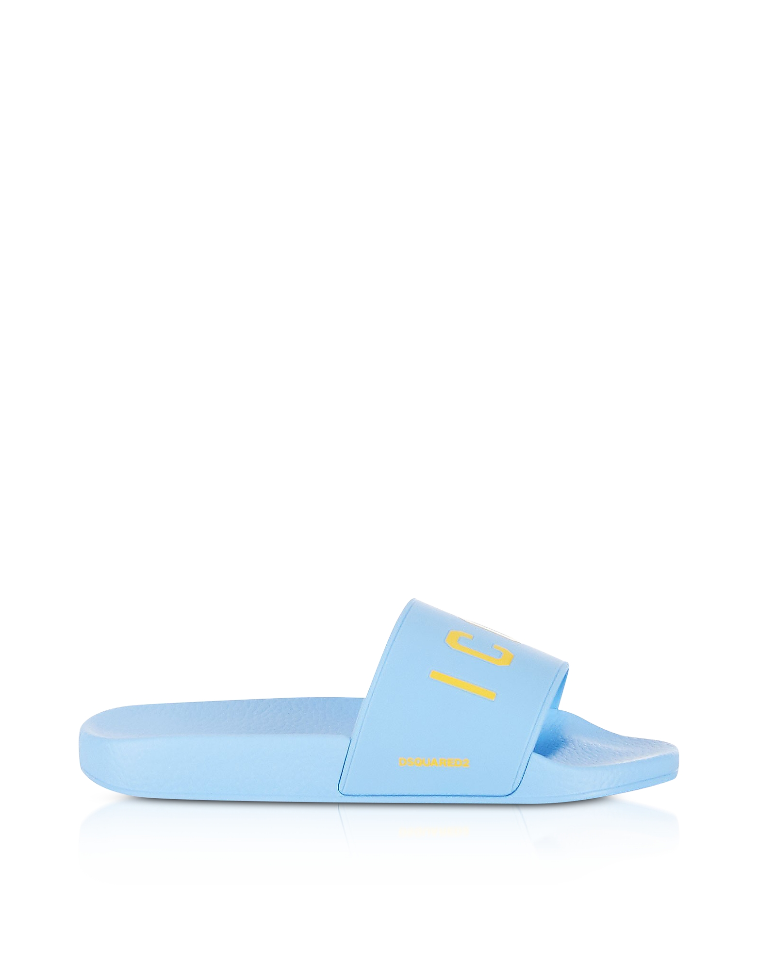 DSquared2 Shoes, Icon Sky Blue Rubber Slide Sandals