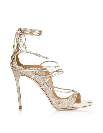 Golden Glitter High Heel Sandals