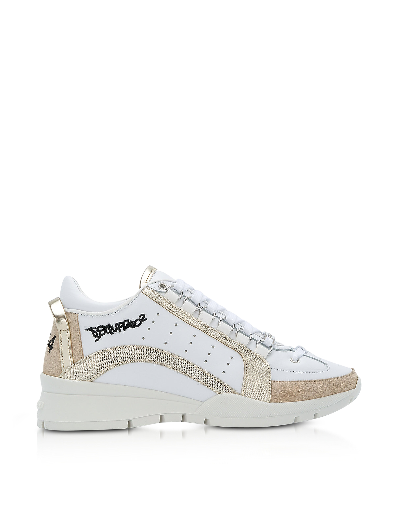 DSquared2 Shoes, White and Gold Leather Women's Sneakers