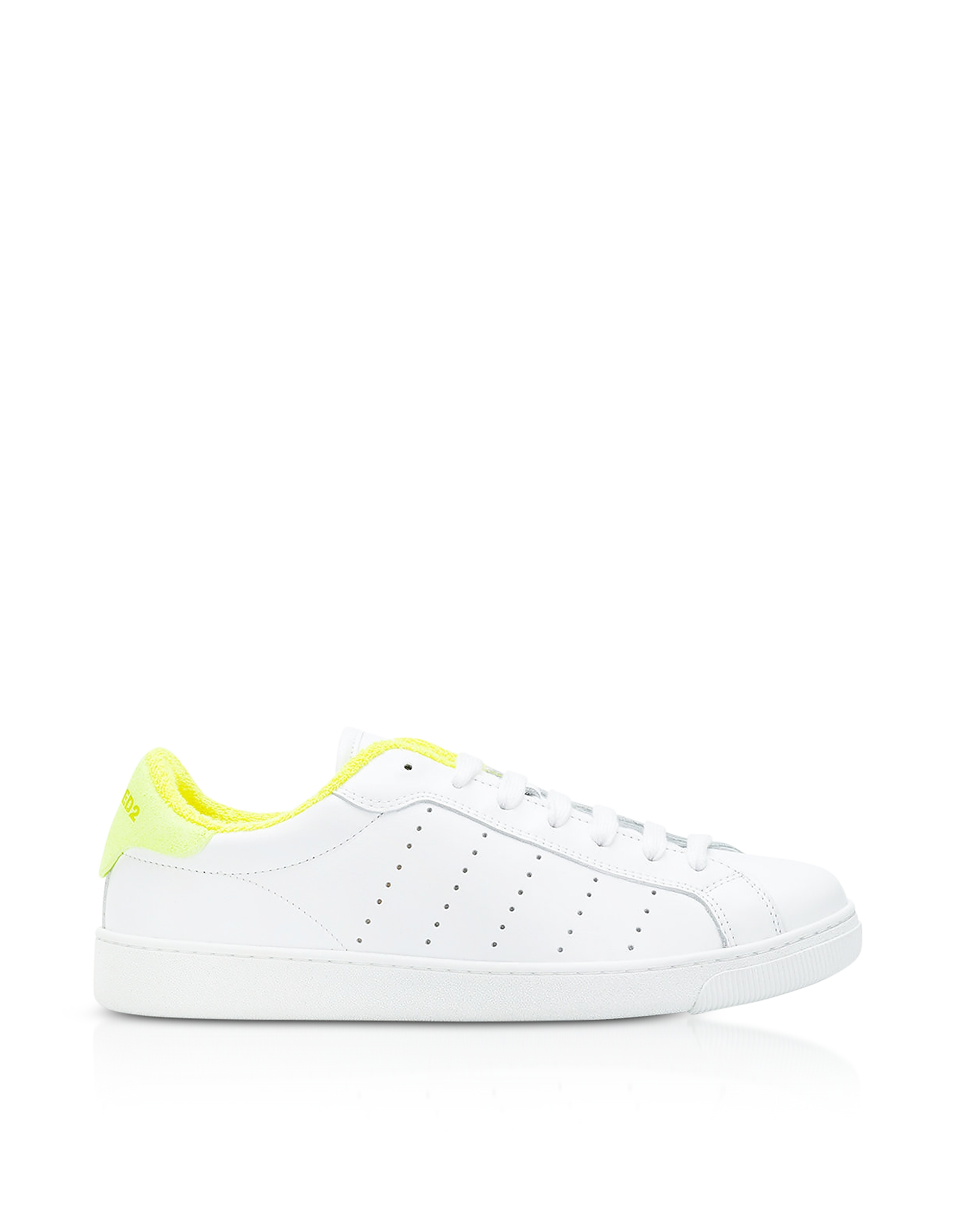 DSquared2 Shoes, White and Neon Yellow Leather Women's Low Top Sneakers