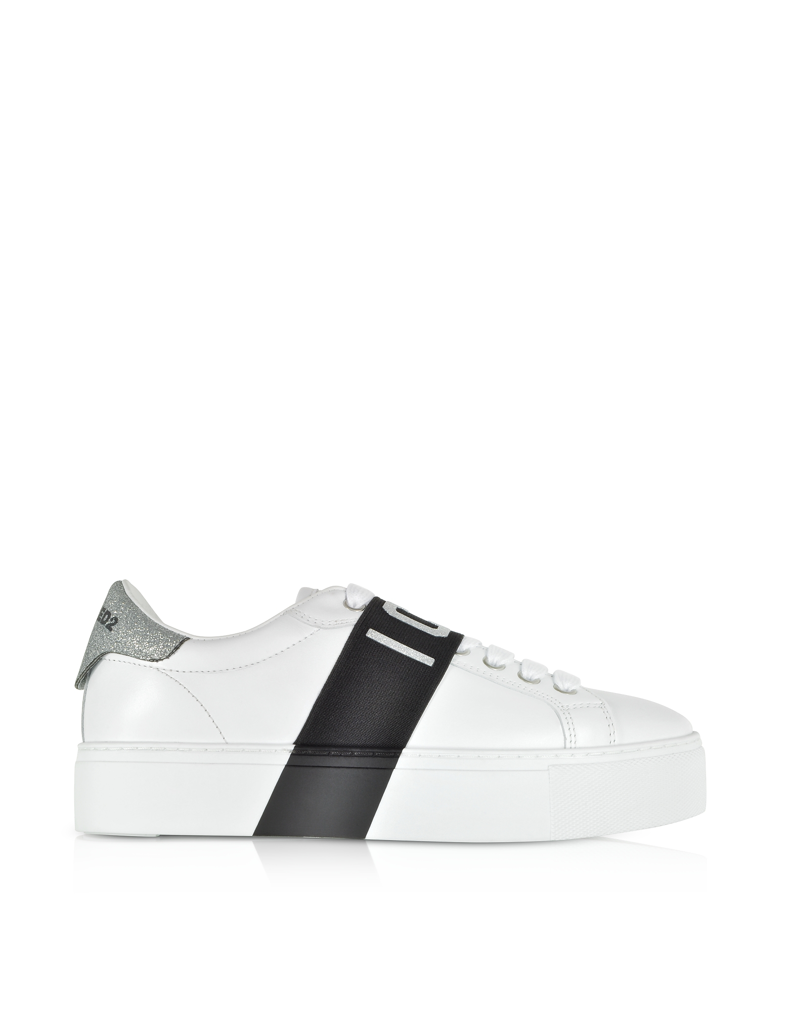 Low Top Leather and Glitter Women's Sneakers
