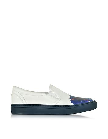 DSquared2 - Essential White Nappa Slip On Sneaker w/Flower Print