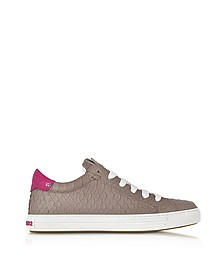Tennis Club Grey and Fuchsia Embossed Leather Sneaker - DSquared2