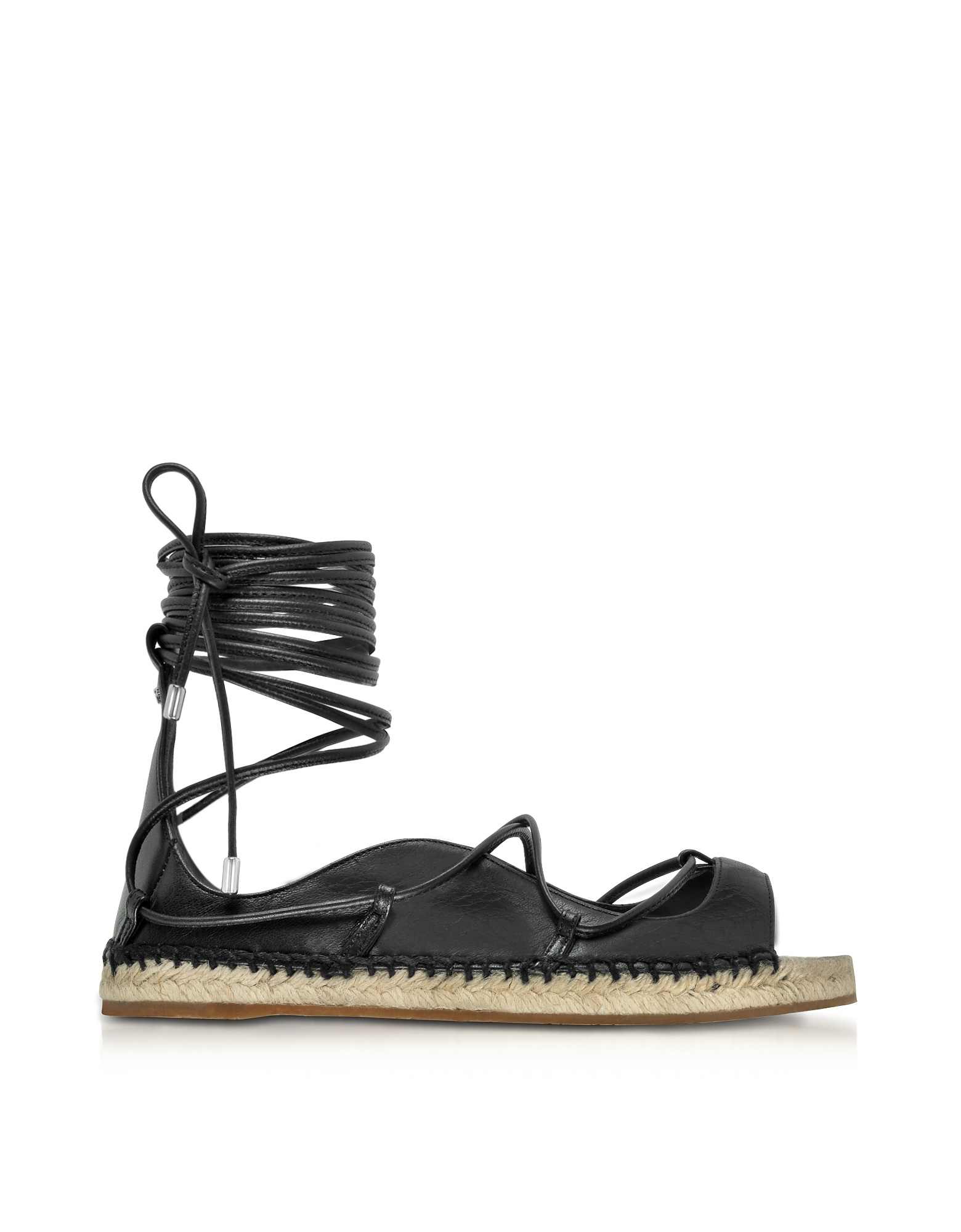 DSquared2 Shoes, Riri Black Nappa Leather Lace-up Flat Espadrilles
