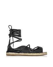 Riri Black Nappa Leather Lace-up Flat Espadrilles - DSquared2