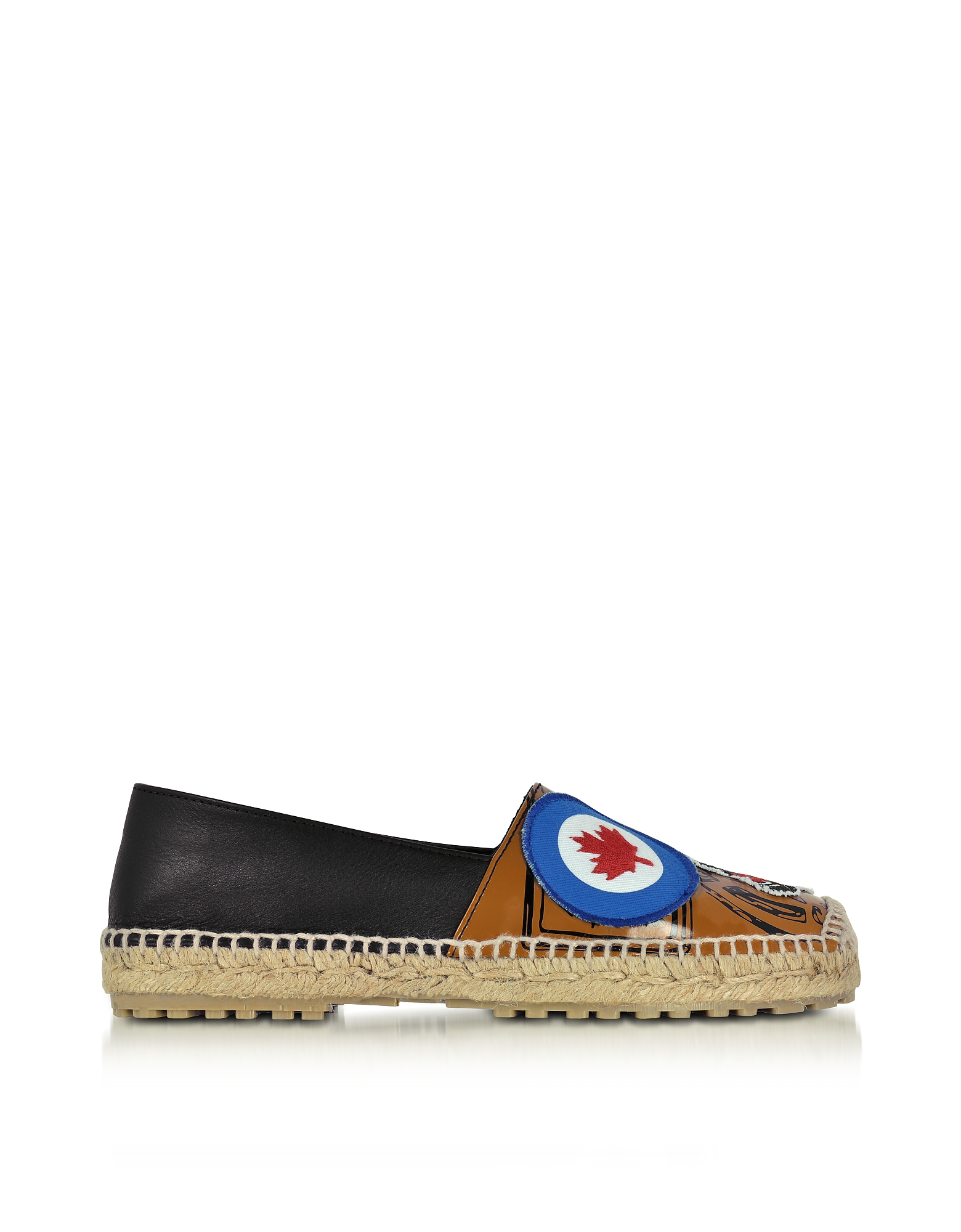 DSquared2 Shoes, Hackney Black and Beige Nappa Leather Flat Espadrilles w/Patches