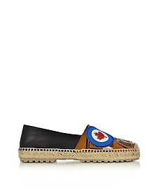 Hackney Black and Beige Nappa Leather Flat Espadrilles w/Patches - DSquared2