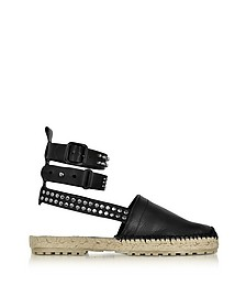 Rock & Cross Black Leather Ankle Wrap Flat Espadrilles w/Studs - DSquared2