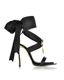 Treasures Black Satin Ankle Wrap High Heel Sandals w/Metal Logo - DSquared2