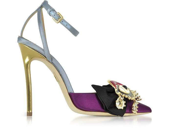 Point-Toe Embellished Satin Pumps - DSquared2