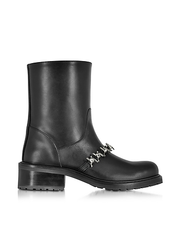 Babe Wire Black Leather Flat Ankle Boot