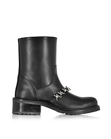 Babe Wire Black Leather Flat Ankle Boot - DSquared2