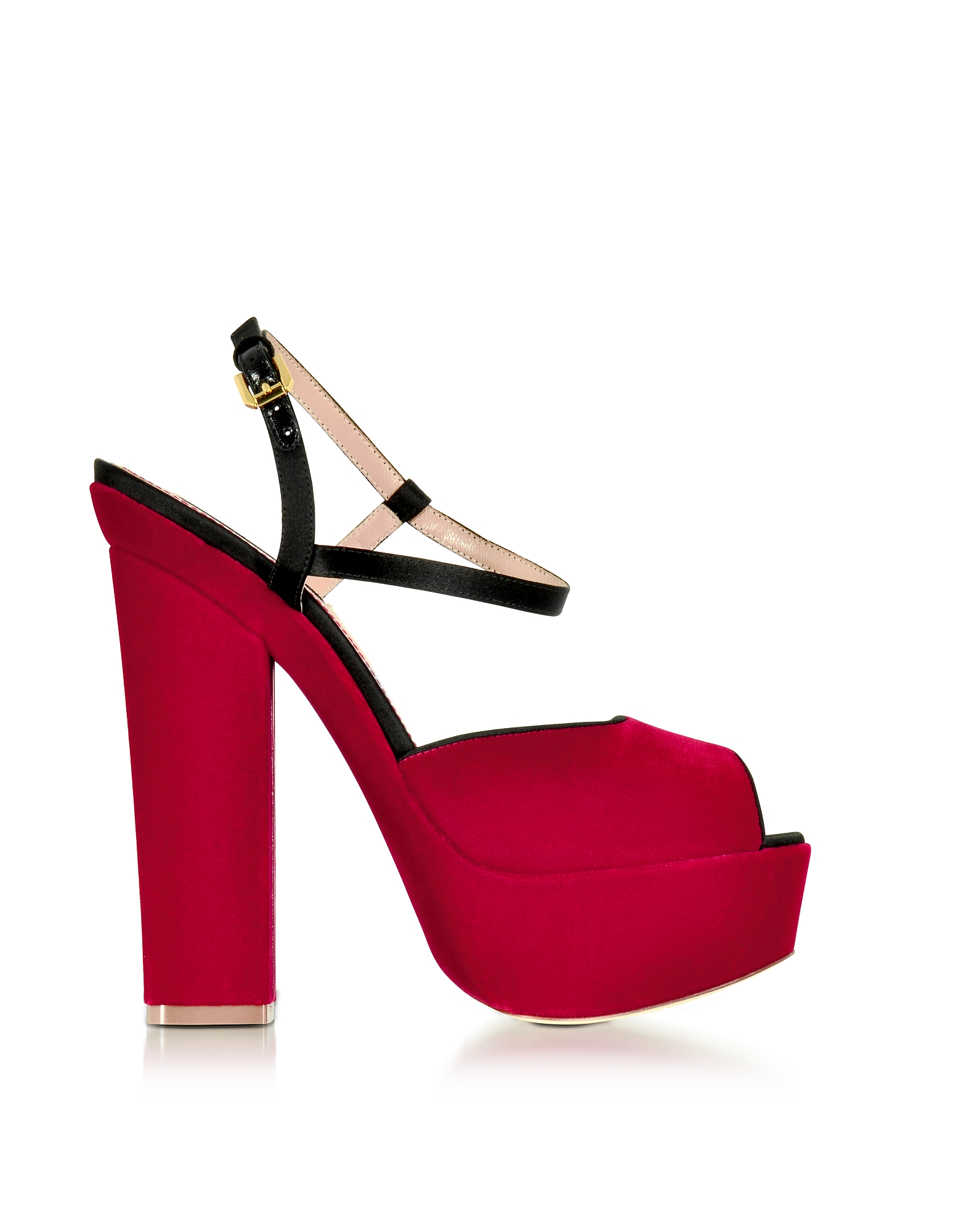 DSquared2 Shoes, Red Velvet Platform Sandal