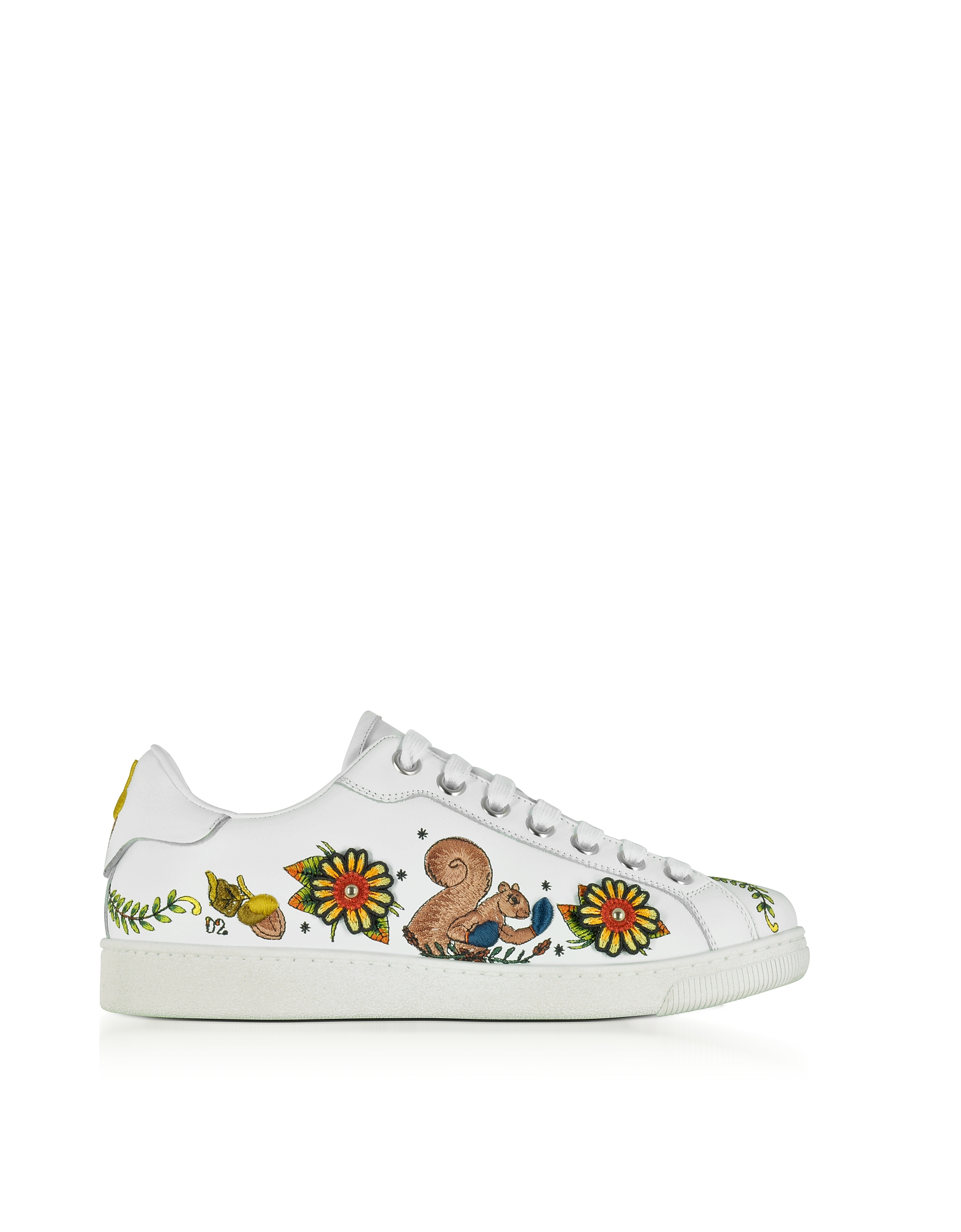 DSquared2 Shoes, Embroidered White Leather Women's Sneakers