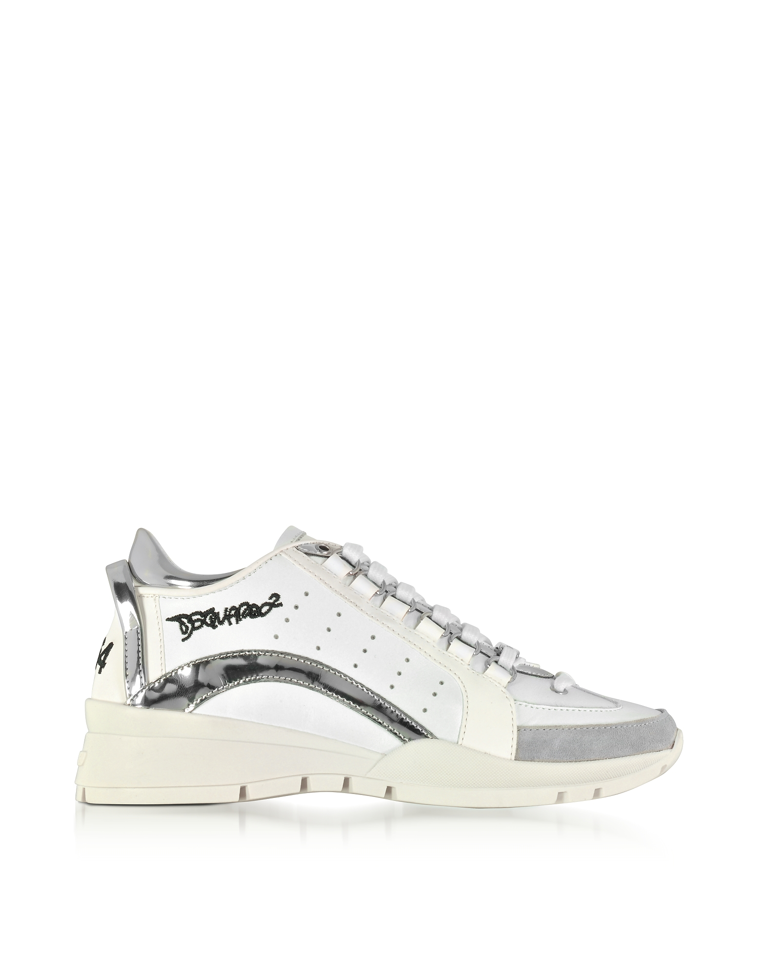 DSquared2 Shoes, White and Silver Mirror Leather Women's Sneakers