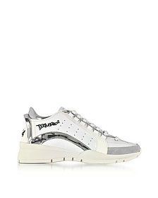 White and Silver Mirror Leather Women's Sneakers - DSquared