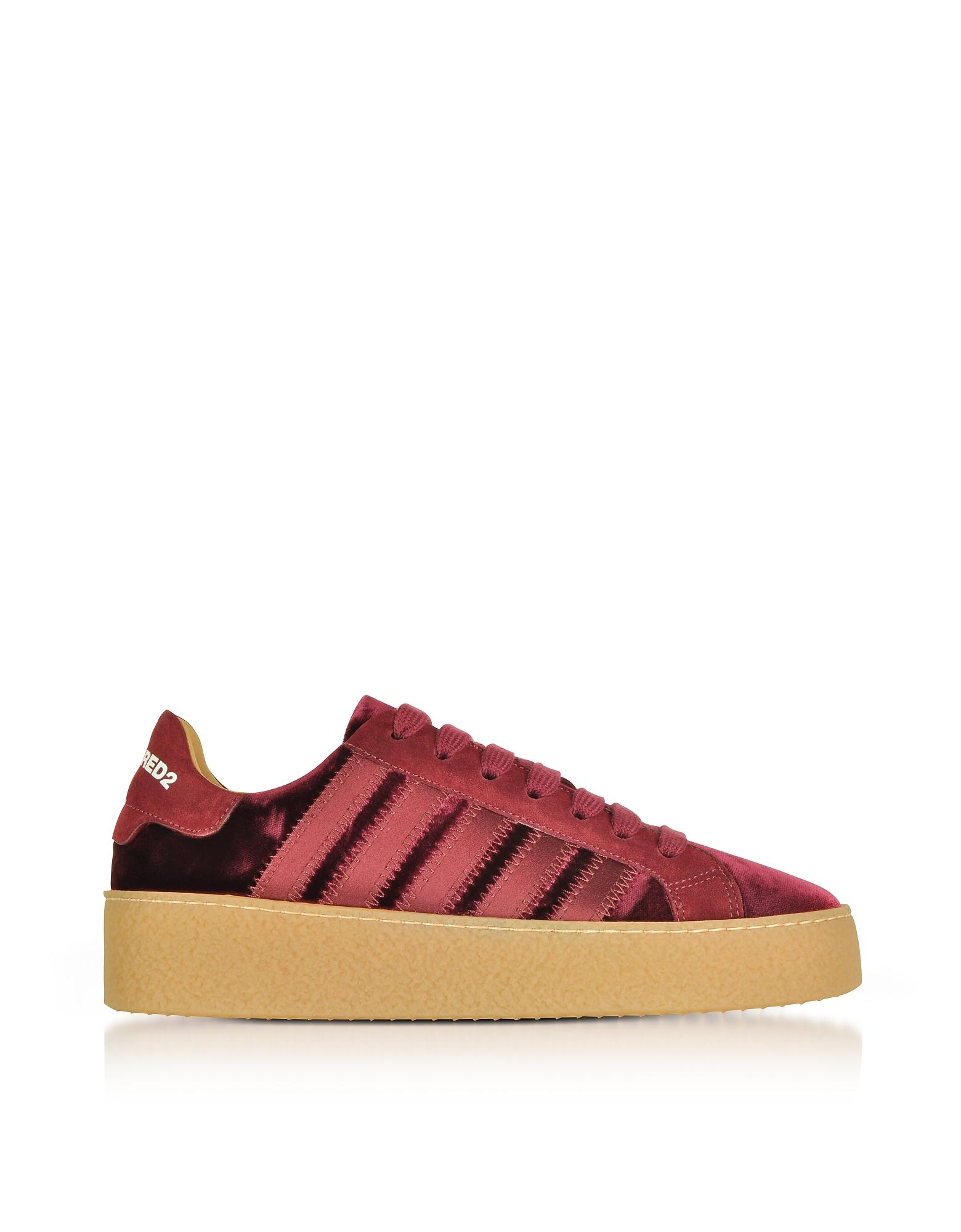 Burgundy Velvet and Satin Women's Sneakers
