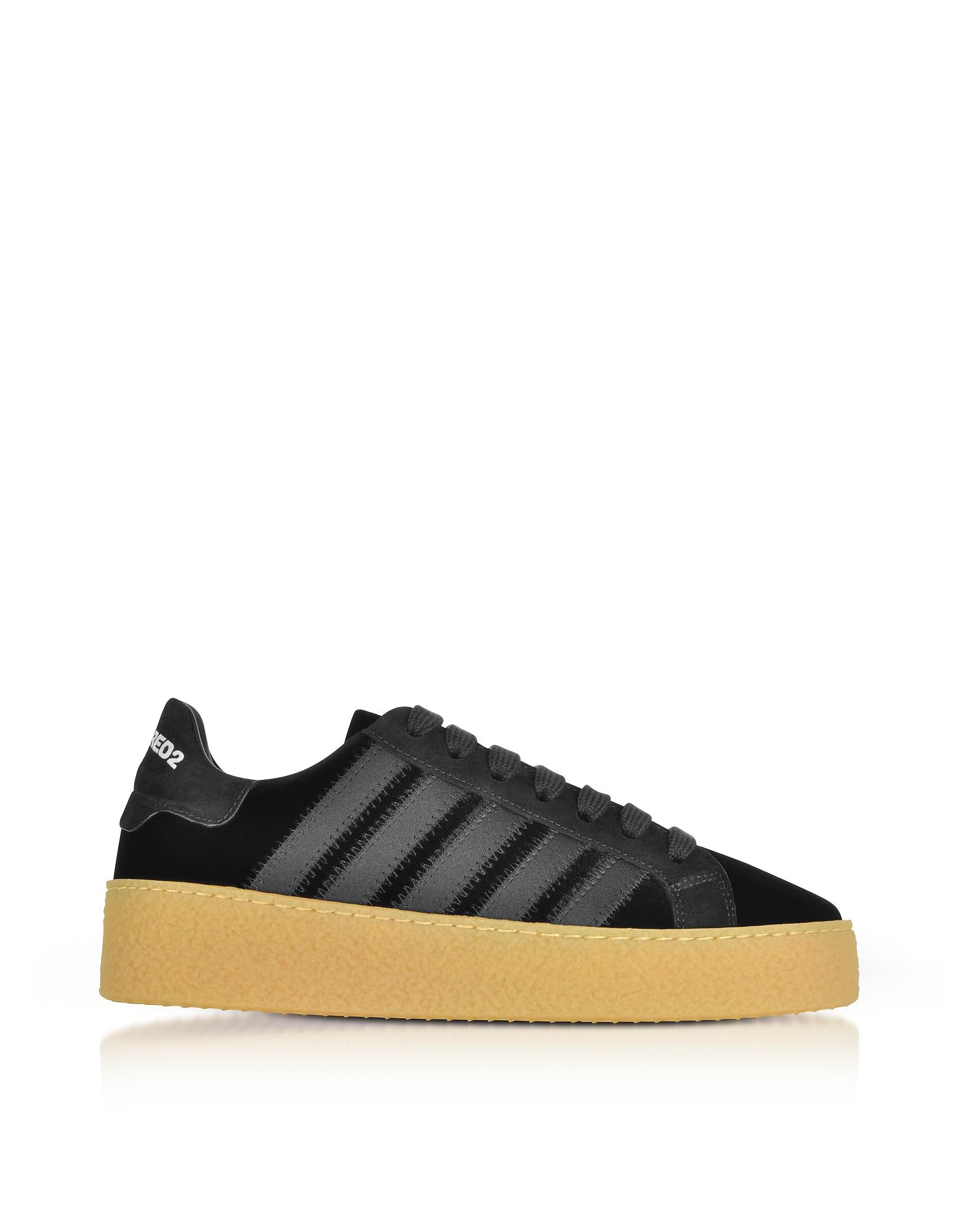 DSquared2 Shoes, Black Velvet and Satin Women's Sneakers