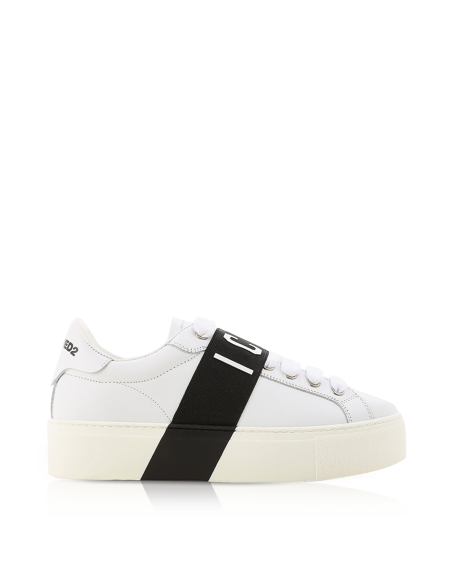 DSquared2 Shoes, White Leather Icon Women's Sneakers w/Black Band