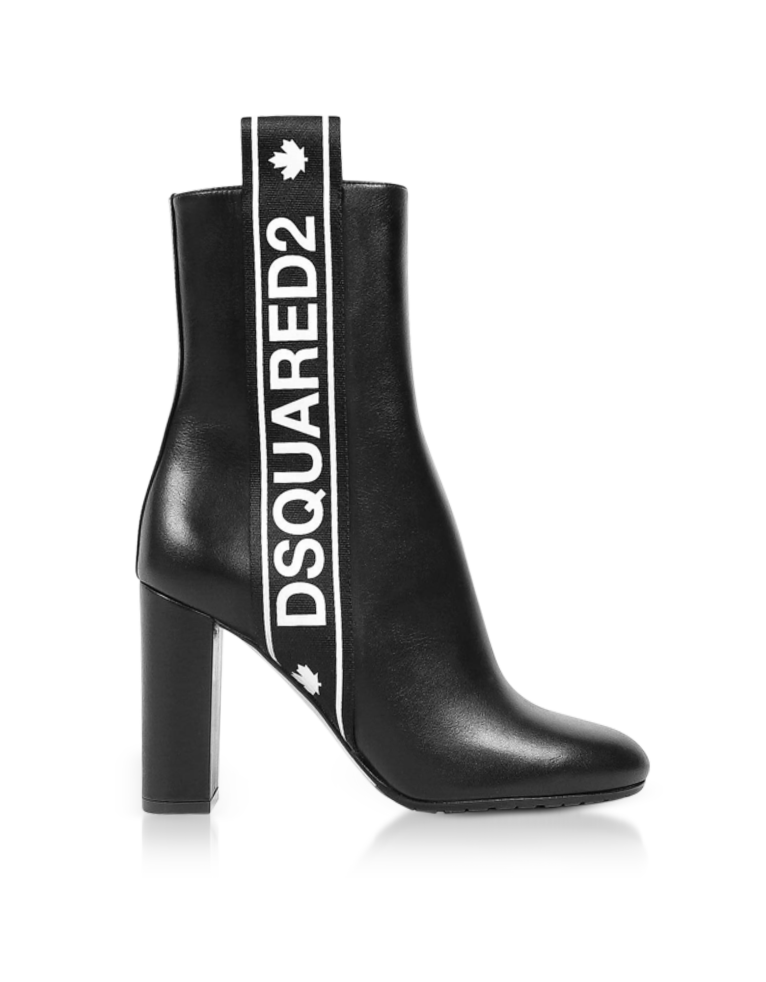 DSquared2 Shoes, Bronx Hip Hop Dsquared2 Tape Black Leather Heel Ankle Boots