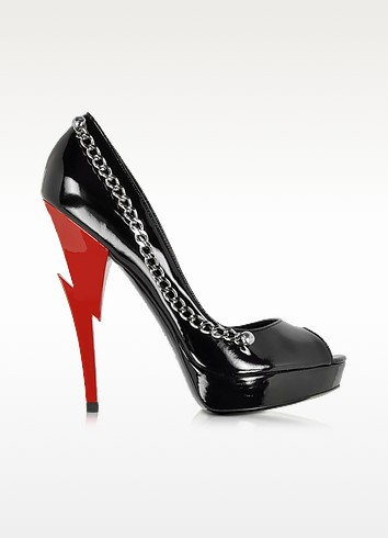 Black Patent Leather Open Toe Platform Pump - DSquared2