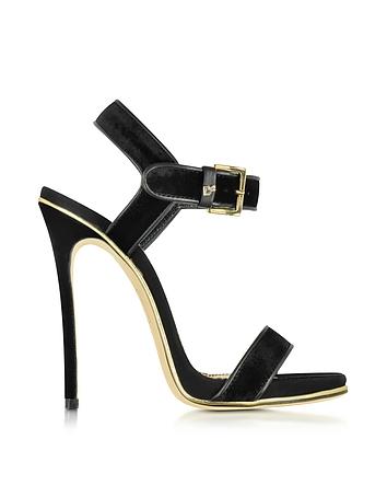 Black Velvet and Suede High Heel Sandal