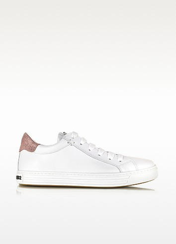 Tennis Club White and Pink Leather Sneaker - DSquared2