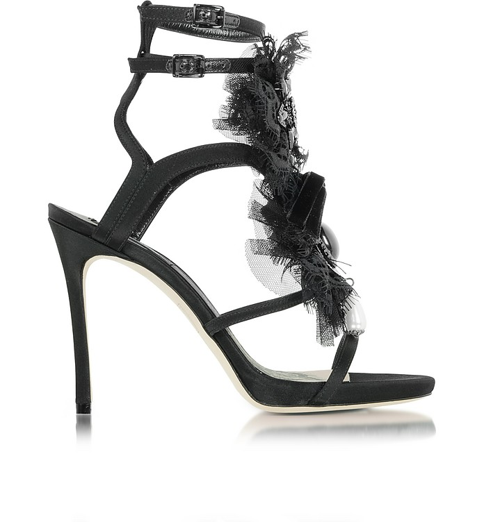 Victorian Black Satin and Lace Sandal - DSquared2